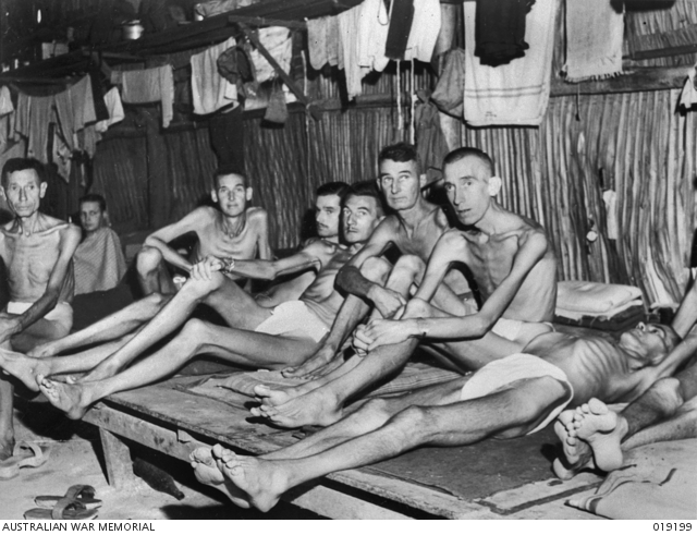 A hospital ward at Changi showing Australian war prisoners. This is probably how many of the Muntok internees looked like.