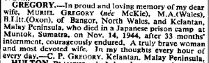 Palembang - Death Notice - Muriel Gregory The Times - 14 Nov 1945