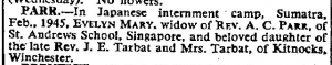 Palembang - Death Notice of Parr The Times Oct 24 1945