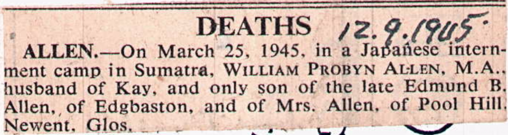William Proby Allen Newspaper Cutting