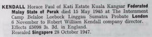 Horace Paul Kendall Probate