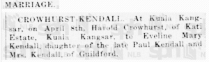 Kendall Crowhurst 20 April 1926