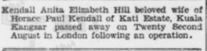 Kendall Death Announcement 26 Aug 1939