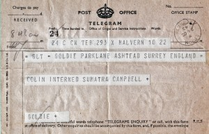 Telegram received 24 October 1943, Colin interned