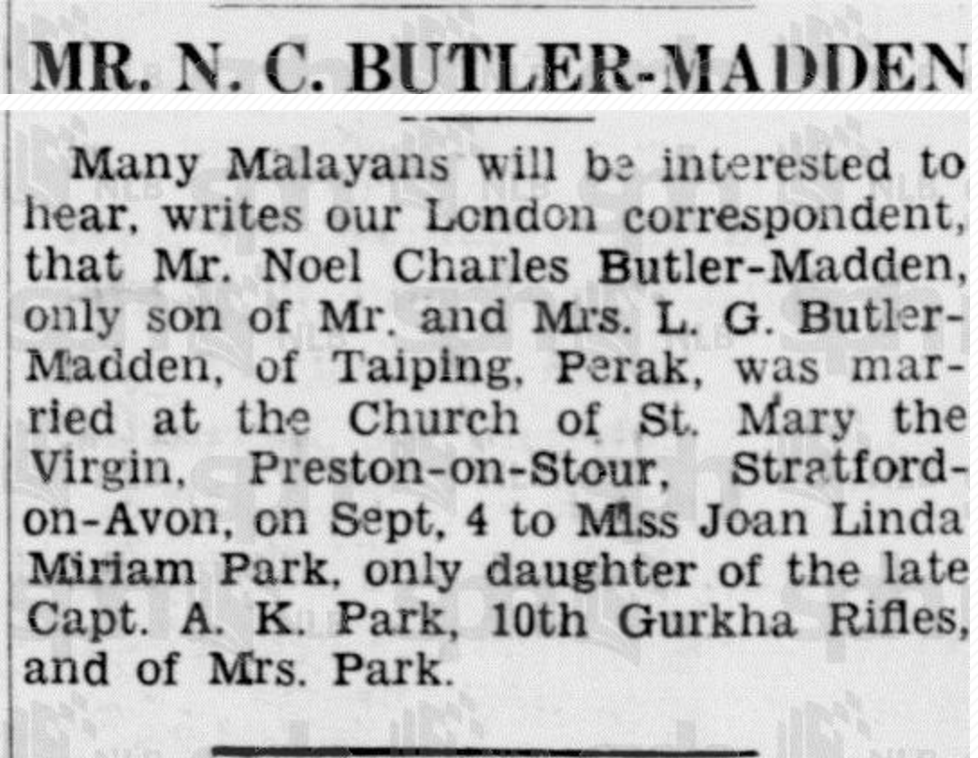 NC Butler-Madden Marriage 16 September 1937