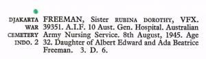 Rubina Dorothy Freeman War Graves Commission entry