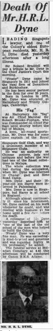 Death Notice of Dyne 6 July 1948