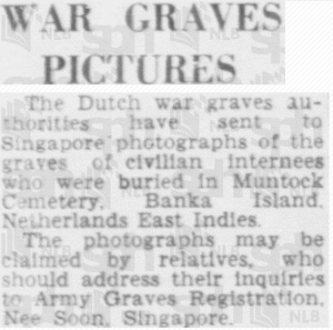 Muntok War Graves 9 November 1948