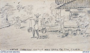 Pat's sketch of the women carrying water