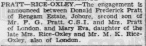Pratt Rice Oxley Engagement 14 November 1935