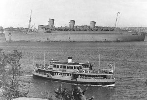 Queen Mary leaving with AANS