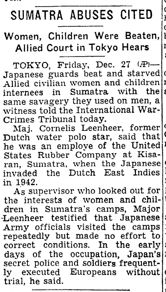 Sumatra Civilians New York Times 27 Dec 1946