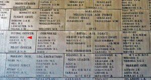 Bedell on Kranji Memorial Wall