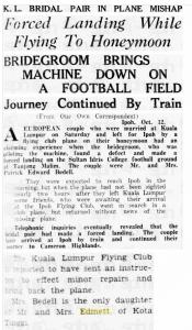 Bedell plane honeymoon mishap , 13 October 1936