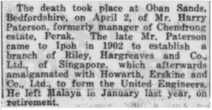 Death Notice of Harry Paterson 18 April 1928