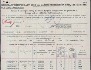 George Edward Roberts and family on ship manifest