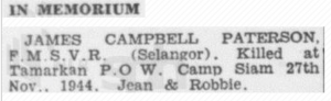 James Campbell Paterson in Memoriam 27 November 1947