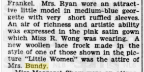 Mrs A Bundy Attire 10 Feb 1935