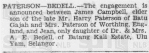 Paterson - Bedell Engagement Announcement 15 February 1940