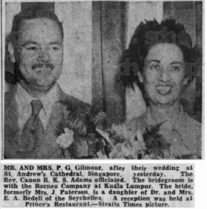 Wedding of Jean Bedell Paterson and Gilmour 26 May 1951