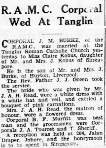 Burke - Kobus Marriage 20 Jan 1940