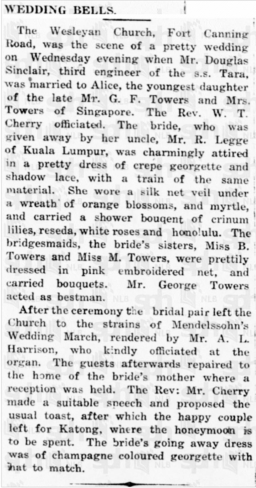 Douglas Sinclair wedding 30 July 1921 Singapore Free Press