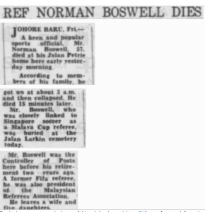 Norman Boswell Death Notice 22 May 1976