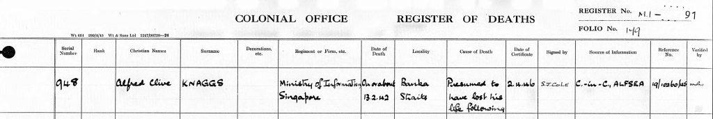 Alfred Knaggs Death Registry