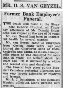 Death Notice of D S Van Geyzel 20 November 1937