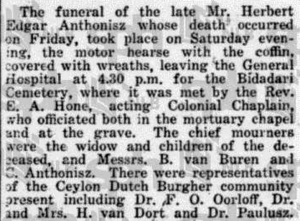 Herbert Edgar Anthonisz Funeral 18 February 1924