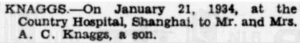 Knaggs Birth Announcement % Feb 1934