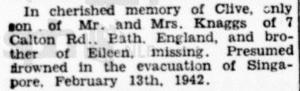 Knaggs Memoriam Straits Times The Straits Times 13 February 1947