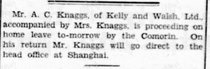Knaggs goes to Shanghai 30 March 1933