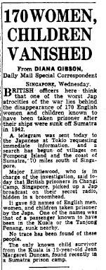 Missing Prisoners from the Kuala 8 Nov 1945